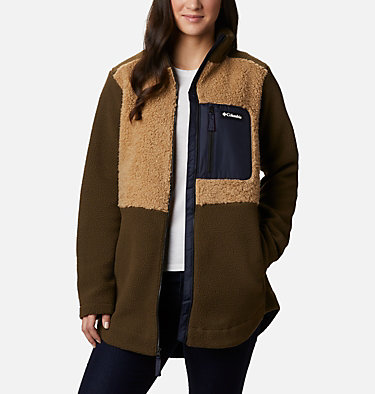 Chandail à fermeture éclair en laine polaire Sherpa Columbia Lodge™ pour femme Columbia Lodge™ Sherpa FZ Fleece | 010 | L, Olive Green, Black, front