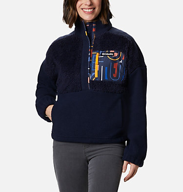 Women's Columbia Lodge™ Sherpa Pullover Columbia Lodge™ Sherpa Pullover | 472 | L, Dark Nocturnal, Multi Typo Print, front