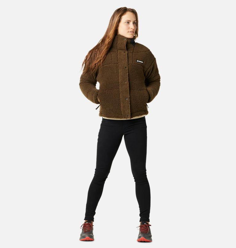 Columbia Lodge™ Baffled Sherpa Fleece | 319 | XS Women's Columbia Lodge Baffled Sherpa Fleece Jacket, Olive Green, Black, a4