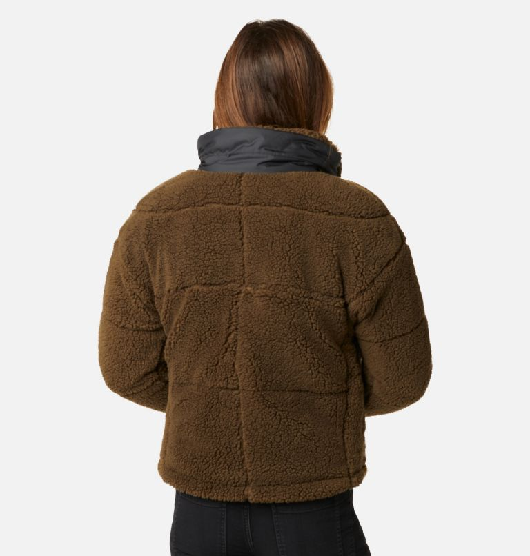 Columbia Lodge™ Baffled Sherpa Fleece | 319 | XS Women's Columbia Lodge Baffled Sherpa Fleece Jacket, Olive Green, Black, back
