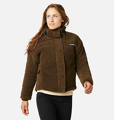 Women's Columbia Lodge Baffled Sherpa Fleece Jacket Columbia Lodge™ Baffled Sherpa Fleece | 010 | L, Olive Green, Black, front