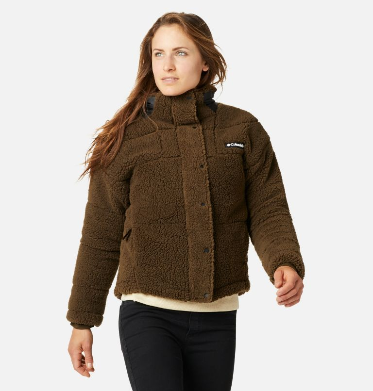 Columbia Lodge™ Baffled Sherpa Fleece | 319 | XS Women's Columbia Lodge Baffled Sherpa Fleece Jacket, Olive Green, Black, front