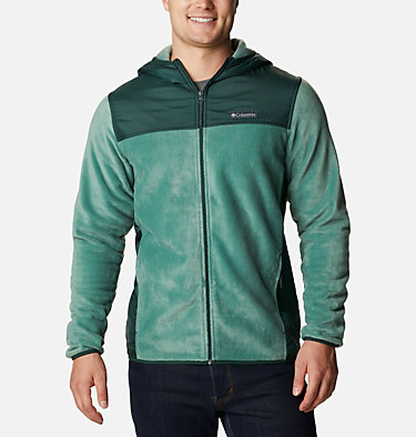 Men's Cottonwood Park™ Overlay Fleece Jacket Cottonwood Park™ Overlay Full Zip Fleece | 397 | S, Thyme Green, Spruce, front