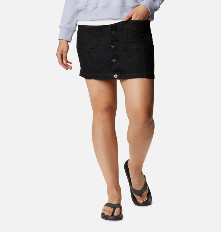 Columbia City™ Denim Skirt | 010 | 8 Women's Columbia City™ Denim Skirt, Black Wash Denim, front