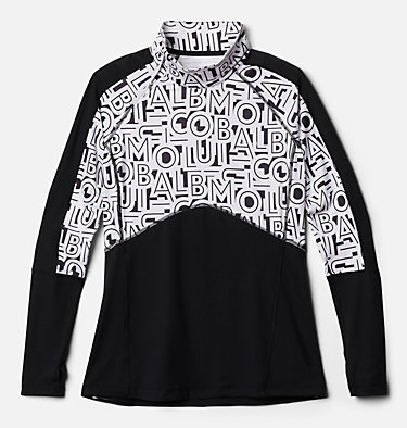 Chandail en tricot avec fermeture éclair 1/4 Winter Power™ pour femme Winter Power™ 1/4 Zip Knit | 031 | L, Black, White Typo Print, front