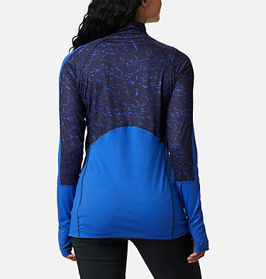 Women's Winter Power™ Quarter Zip Knit Shirt Winter Power™ 1/4 Zip Knit | 410 | L, Lapis Blue, Dark Nocturnal Crackle Print, back