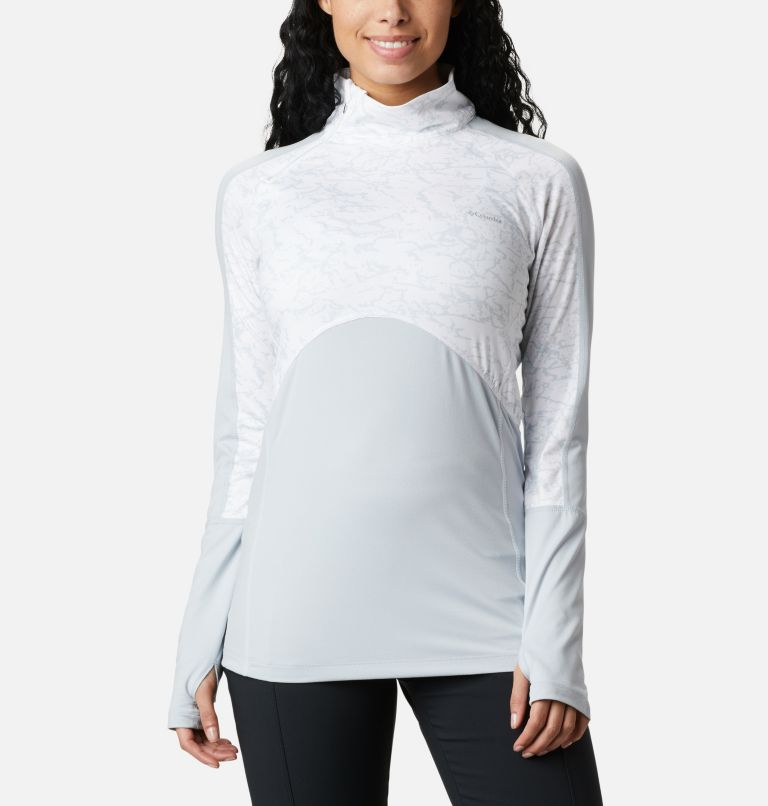 Winter Power™ 1/4 Zip Knit | 031 | M Haut avec zip 1/4 Winter Power femme , Cirrus Grey, White Crackle Print, front