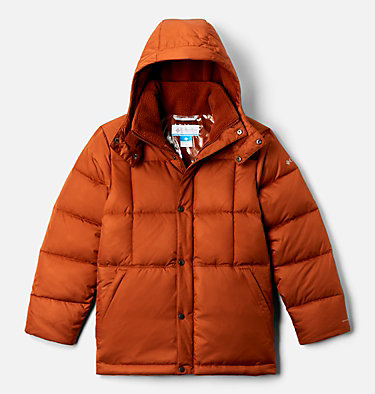 Boys' Forest Park™ Down Hooded Puffy Jacket Forest Park™ Down Hooded Puffer | 327 | M, Dark Adobe Ripstop, front