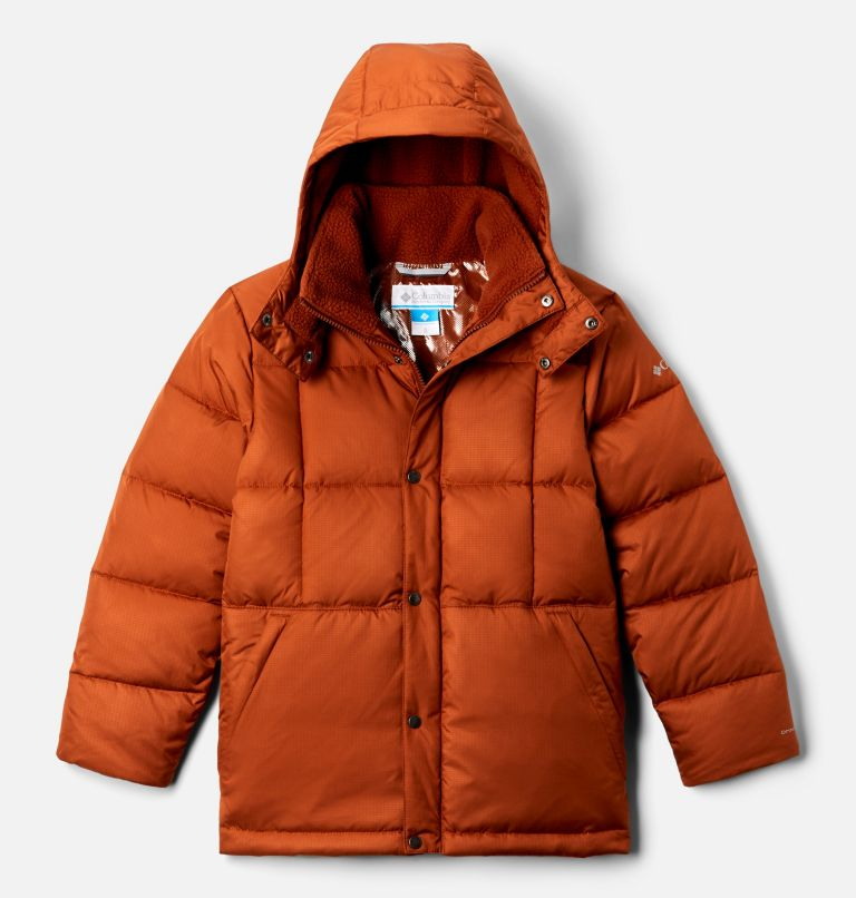 Forest Park™ Down Hooded Puffer | 885 | XXS Boys' Forest Park™ Down Hooded Puffy Jacket, Dark Adobe Ripstop, front