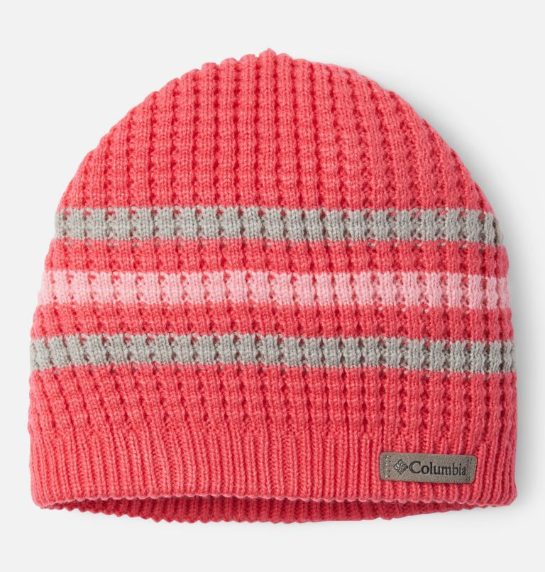 Fawn Hike™ Youth Beanie   673   O/S Kids' Fawn Hike™ Beanie, Bright Geranium, Columbia Grey, front