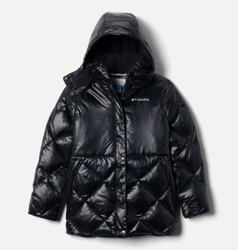 Forest Park™ Down Hooded Puffer | 010 | L Girls' Forest Park™ Down Hooded Puffy Jacket, Black High Gloss, Black, front