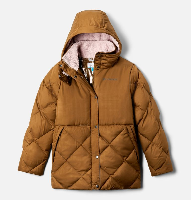 Forest Park™ Down Hooded Puffer | 257 | L Girls' Forest Park™ Down Hooded Puffy Jacket, Delta Ripstop, Mineral Pink, front