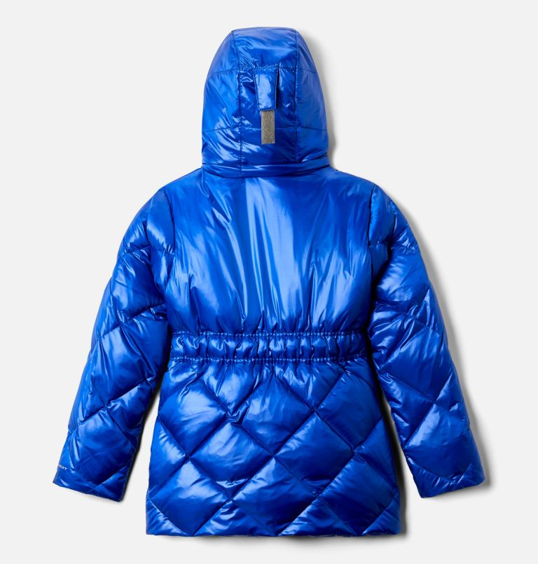 Forest Park™ Down Hooded Puffer | 410 | XS Girls' Forest Park™ Down Hooded Puffy Jacket, Lapis Blue High Gloss, back