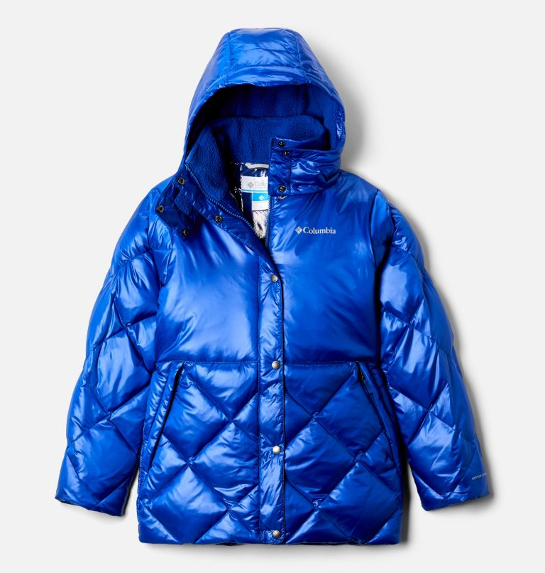 Forest Park™ Down Hooded Puffer | 410 | XS Girls' Forest Park™ Down Hooded Puffy Jacket, Lapis Blue High Gloss, front