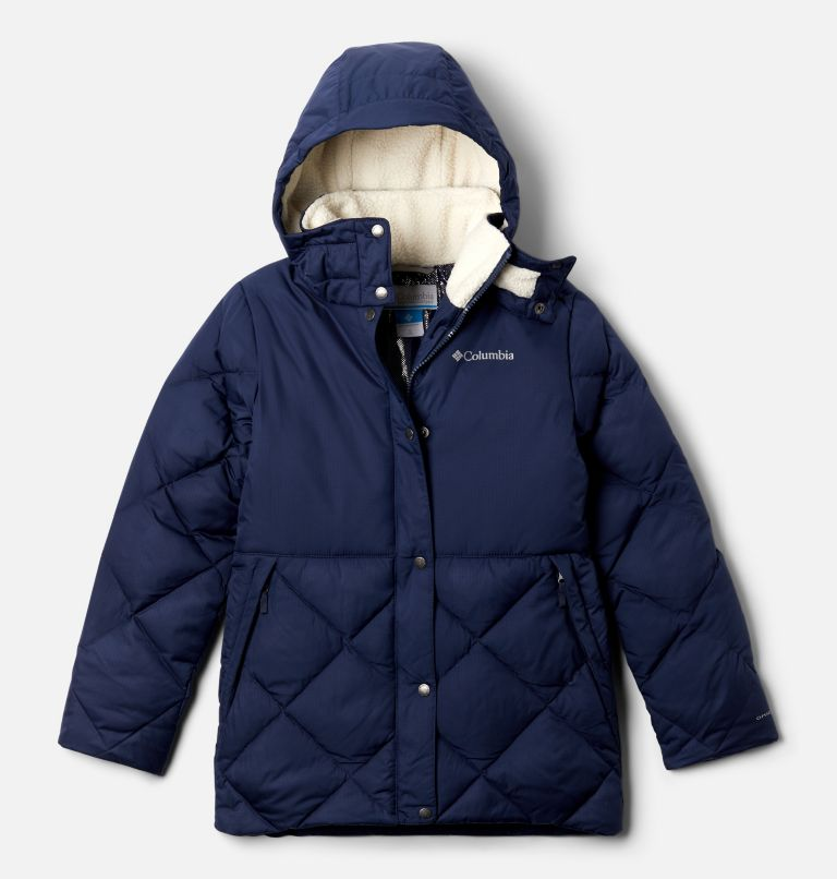 Forest Park™ Down Hooded Puffer | 466 | L Girls' Forest Park™ Down Hooded Puffy Jacket, Nocturnal Ripstop, Chalk, front