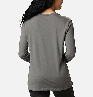 Women's Autumn Trek™ Long Sleeve Relaxed T-Shirt Autumn Trek™ LS Relaxed Tee | 319 | XL, Charcoal Heather, Walking Puffer, back