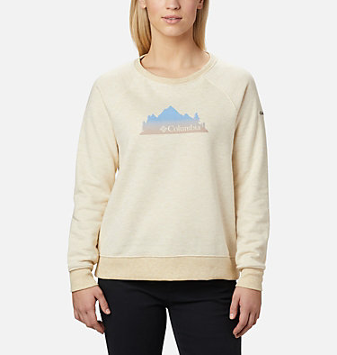 Chandail à col rond imprimé Hart Mountain™ pour femme Hart Mountain™ Graphic Crew | 671 | L, Oatmeal Heather, Leafscape Stacked, front