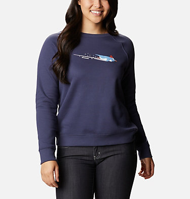 Women's Hart Mountain™ Graphic Crewneck Sweatshirt Hart Mountain™ Graphic Crew | 671 | L, Nocturnal, Penguin Glide, front