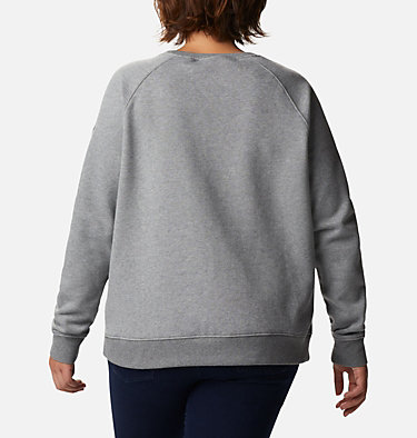 Women's Hart Mountain™ Graphic Crewneck Sweatshirt - Plus Size Hart Mountain™ Graphic Crew | 023 | 1X, City Grey Heather, Leafscape Stacked, back