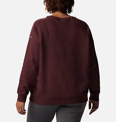 Women's Hart Mountain™ Graphic Crewneck Sweatshirt - Plus Size Hart Mountain™ Graphic Crew | 023 | 1X, Malbec, Origami Houndstooth, back