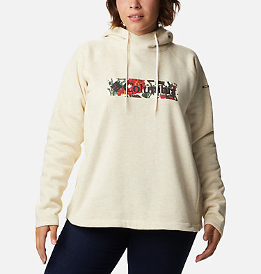 Women's Hart Mountain™ Graphic Hoodie - Plus Size Hart Mountain™ Graphic Hoodie | 023 | 1X, Oatmeal Heather, Botanical Print, front
