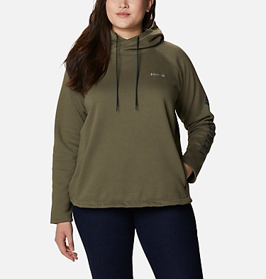 Women's Hart Mountain™ Graphic Hoodie - Plus Size Hart Mountain™ Graphic Hoodie | 466 | 1X, Stone Green, CSC Camo Fill, front