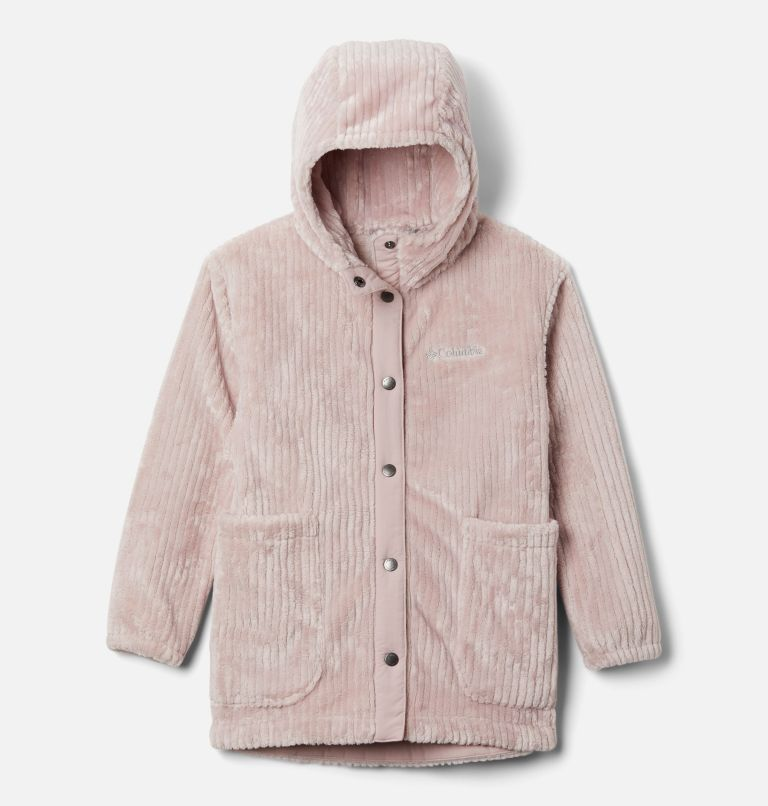 Fire Side™ Sherpa Long Jacket | 618 | XXS Girls' Fire Side™ Long Sherpa Fleece Jacket, Mineral Pink, front