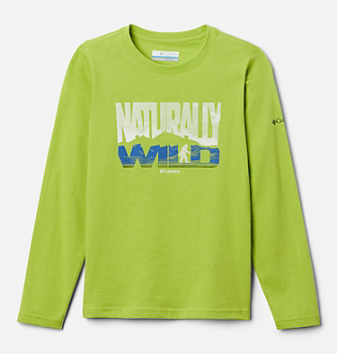 Boys' Naturally Wild™ Graphic Long Sleeve Shirt Naturally Wild™ Graphic LS Tee | 100 | XS, Bright Chartreuse, front