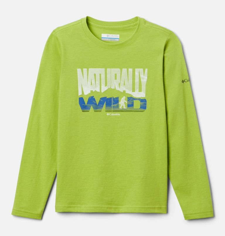 Naturally Wild™ Graphic LS Tee | 386 | XL Boys' Naturally Wild™ Graphic Long Sleeve Shirt, Bright Chartreuse, front