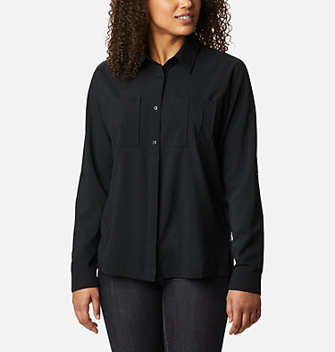 Chandail tissé à manches longues Essential Elements™ pour femme Essential Elements™ Woven LS Shirt | 100 | L, Black, front