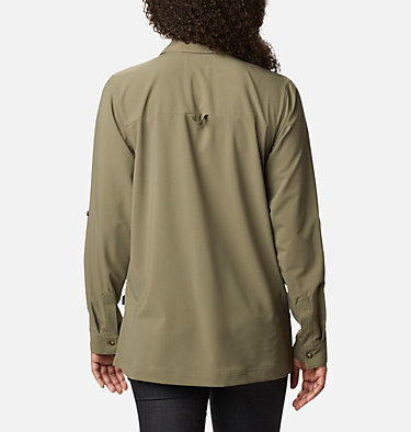 Women's Essential Elements™ Woven Long Sleeve Shirt Essential Elements™ Woven LS Shirt | 100 | L, Stone Green, back