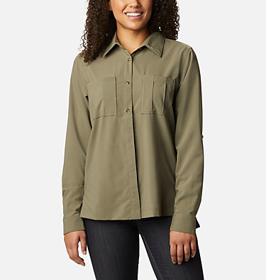 Women's Essential Elements™ Woven Long Sleeve Shirt Essential Elements™ Woven LS Shirt | 100 | L, Stone Green, front