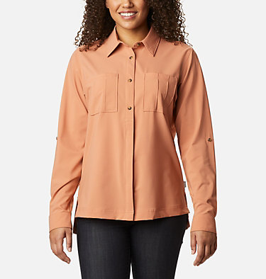 Women's Essential Elements™ Woven Long Sleeve Shirt Essential Elements™ Woven LS Shirt | 100 | L, Nova Pink, front