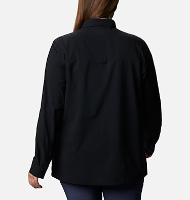 Women's Essential Elements™ Woven Long Sleeve Shirt - Plus Size Essential Elements™ Woven LS Shirt | 100 | 1X, Black, back