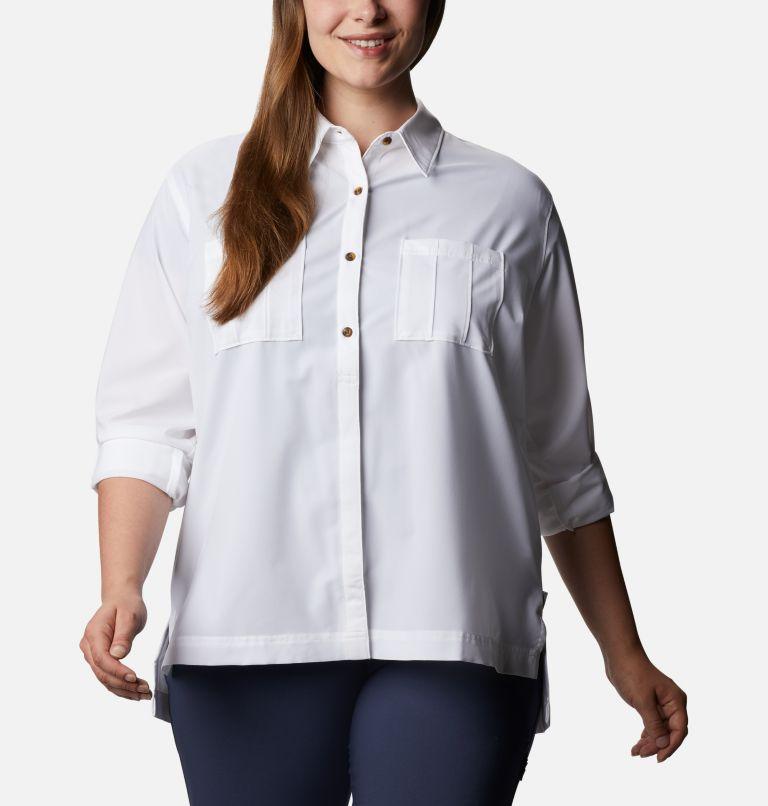 Essential Elements™ Woven LS Shirt   100   1X Chandail tissé à manches longues Essential Elements™ pour femme - Grandes tailles, White, a3