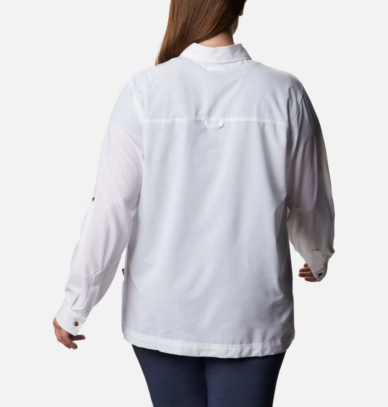 Essential Elements™ Woven LS Shirt   100   1X Chandail tissé à manches longues Essential Elements™ pour femme - Grandes tailles, White, back