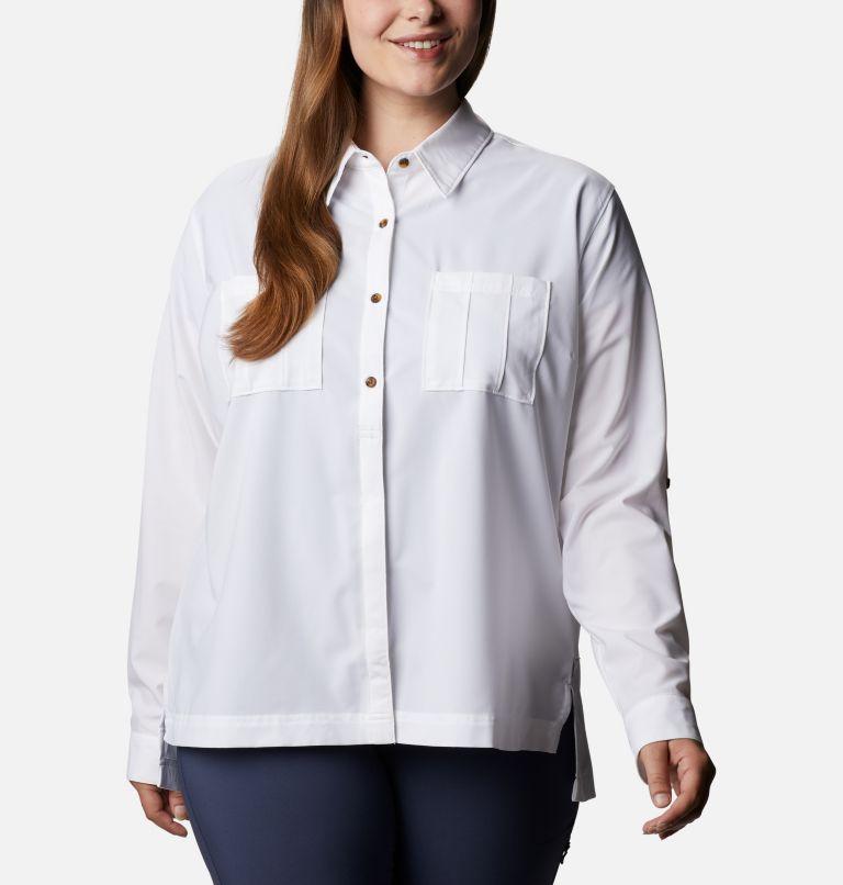 Essential Elements™ Woven LS Shirt   100   1X Chandail tissé à manches longues Essential Elements™ pour femme - Grandes tailles, White, front