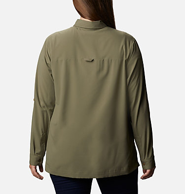 Women's Essential Elements™ Woven Long Sleeve Shirt - Plus Size Essential Elements™ Woven LS Shirt | 100 | 1X, Stone Green, back