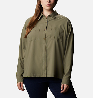 Women's Essential Elements™ Woven Long Sleeve Shirt - Plus Size Essential Elements™ Woven LS Shirt | 100 | 1X, Stone Green, front