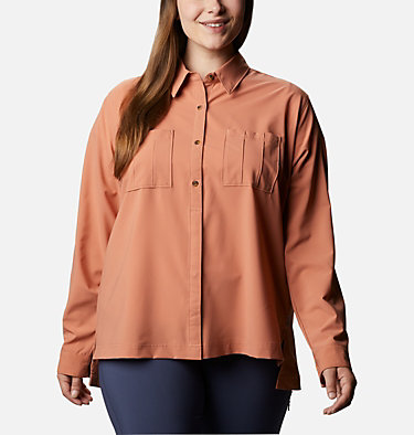 Women's Essential Elements™ Woven Long Sleeve Shirt - Plus Size Essential Elements™ Woven LS Shirt | 100 | 1X, Nova Pink, front