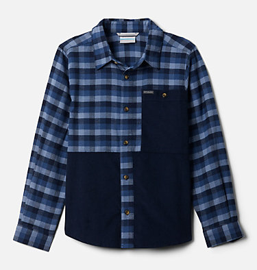 Boys' Rockfall™ Flannel Shirt Rockfall™ Flannel | 327 | XL, Night Tide Plaid, Collegiate Navy, front
