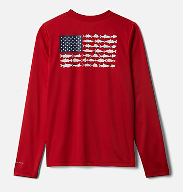 Kids' PFG Terminal Tackle Vintage Poster Long Sleeve Shirt Terminal Tackle PFG™ Vintage Poster LS | 469 | M, Red Spark, front