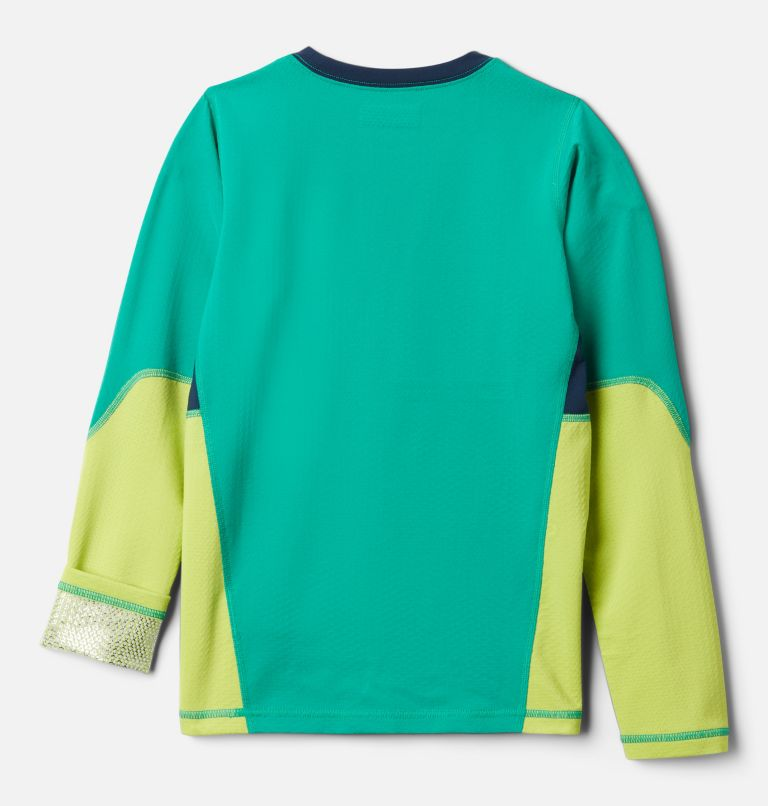 Omni-Heat 3D™ Knit Crew | 374 | L Kids' Omni-Heat™ 3D Knit Crew Baselayer Shirt, Emerald Green, Brt Chrtrse, Coll Navy, back