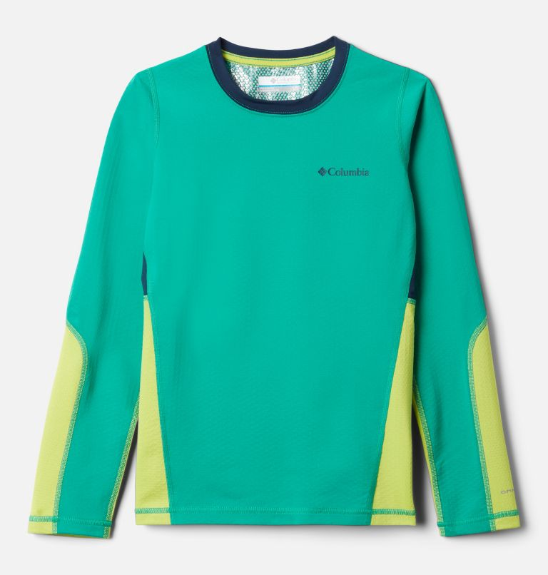 Omni-Heat 3D™ Knit Crew | 374 | L Kids' Omni-Heat™ 3D Knit Crew Baselayer Shirt, Emerald Green, Brt Chrtrse, Coll Navy, front