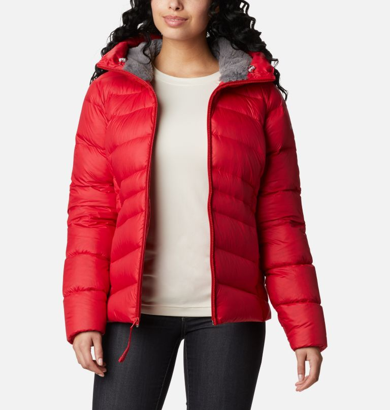 Autumn Park™ Down Hooded Jacket | 658 | M Manteau à capuchon en duvet Autumn Park™ pour femme, Red Lily, front