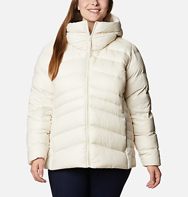 Women's Autumn Park™ Down Hooded Jacket - Plus Size Autumn Park™ Down Hooded Jacket | 010 | 3X, Chalk, front