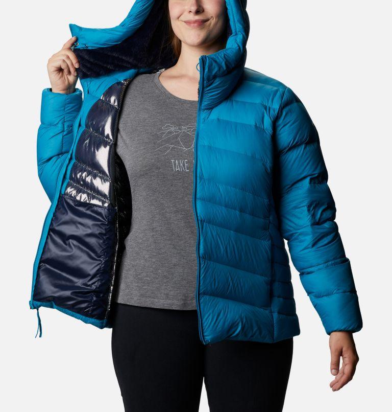 Autumn Park™ Down Hooded Jacket | 462 | 1X Women's Autumn Park™ Down Hooded Jacket - Plus Size, Fjord Blue, a3