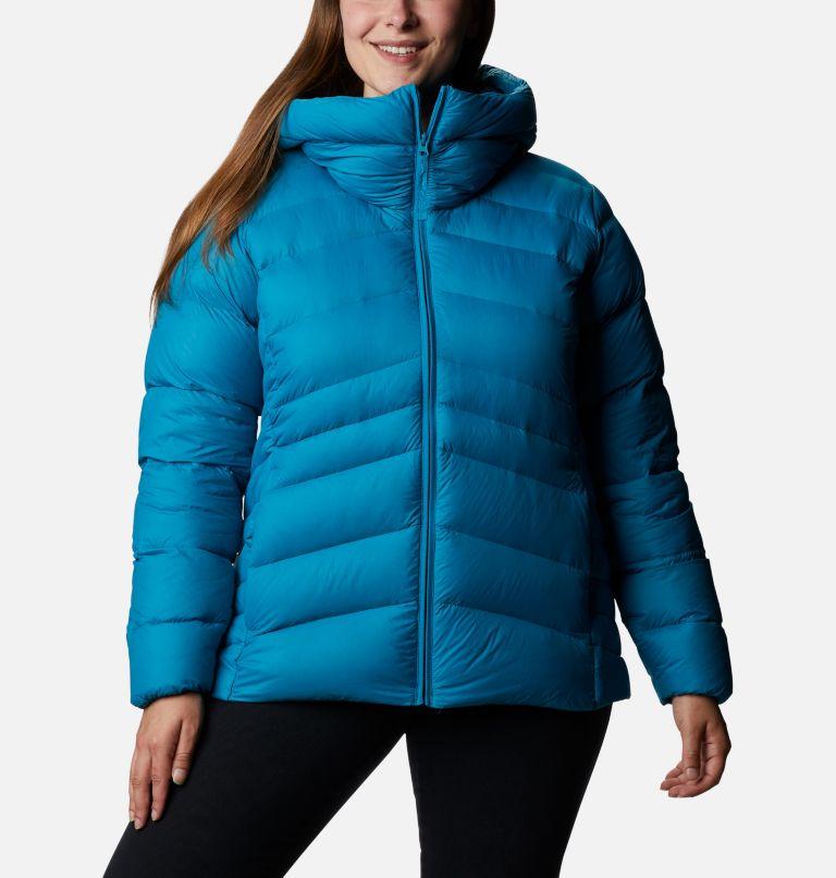 Autumn Park™ Down Hooded Jacket | 462 | 3X Manteau à capuchon en duvet Autumn Park™ pour femme - Grandes tailles, Fjord Blue, front