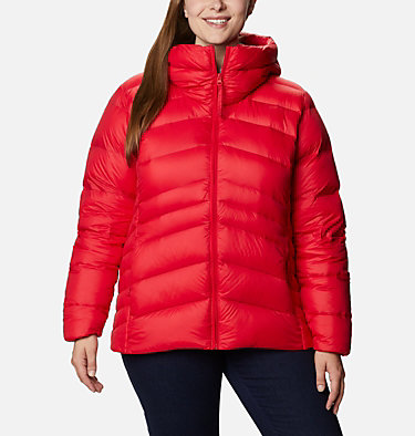 Women's Autumn Park™ Down Hooded Jacket - Plus Size Autumn Park™ Down Hooded Jacket | 010 | 3X, Red Lily, front