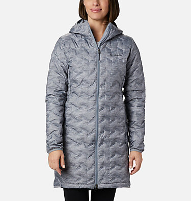 Women's Delta Ridge™ Long Down Jacket Delta Ridge™ Long Down Jacket | 671 | L, Tradewinds Grey Heather Print, front